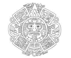 Aztec Calendar Coloring Page Coloring Pages