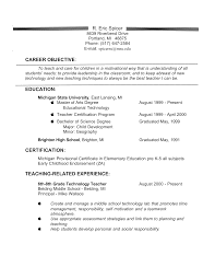 Experienced Teacher Resume Objective Templates At