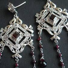 victorian style earrings bridal chandelier silver garnet earrings