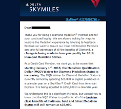 Delta Skymiles Benefits Chart Delta Diamond Mqd Waiver Changing From 25k To 250k