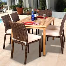 Amazonia teak luxemburg 6 person resin wicker patio dining set with stacking chairs bbq guys
