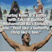 """Image result for Ali proclaimed he would """"float like a butterfly, sting like a bee."""""""