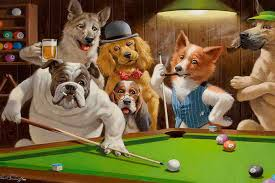 home decor art wall dogs playing pool billiards oil painting picture printed on