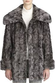 fur coats jones new york faux chinchilla coat with wing collar