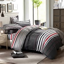grey and red stripes printing 4pc bedding set queen bed duvet quilt covers bedclothes pillow shams sets 100 cotton in bedding sets from home garden on