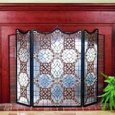 victorian beveled tiffany stained glass fireplace screens