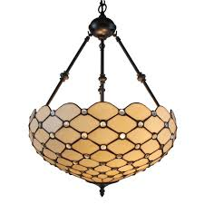 2 light tiffany style and white ceiling hanging pendant