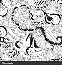 株式ベクトル シームレスな抽象的なモノクロ落書き花と波 ストック