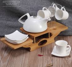 Decorative Cups And Saucers Hanging Ceramic Tea Cup and Pot Set with Bamboo Tray Decorative 19