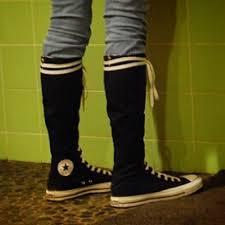 converse knee high tops. converse shoes - 🔻sold🔻knee high black chucks knee tops