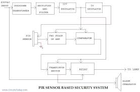 pir sensor based security system circuit diagram working applications pir block diagram