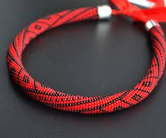 <b>Bead</b> crochet rope necklace Statement Gray Black necklace ...
