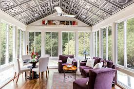 Snazzy Ceiling For The Contemporary Sunroom And Decor In Purple