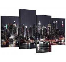 new york city skyline black white cityscape canvas set of 4 130cm 4187 on wall art black white with black and white canvas pictures prints wall art free delivery