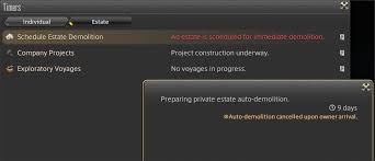 a notification indicating that the estate is being prepared for auto demolition will appear in the timers interface in the duty tab of the main