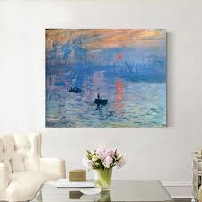 hand painted claude monet sunshine and boat abstract oil painting on canvas for living room wall