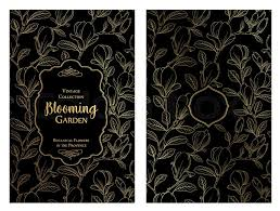 blossom magnolia for you personal cover dark theme with gold lines for book cover botanical ilration in style of engraving