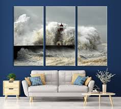 large wall art canvas giant white waves