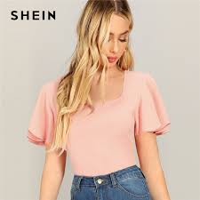 SHEIN Pink Casual <b>Square Neck</b> Flutter Sleeve Solid Textured T ...