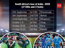 India Vs South Africa Series 2019 Schedule Match Timing