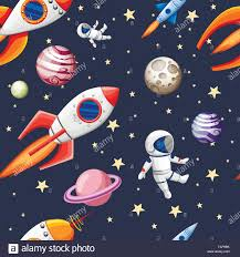 Elements Of Design Space Seamless Pattern Of Space Elements Cartoon Design Space