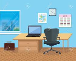 office space design interiors. Modern Office Interior With Designer Desktop In Flat Design. Room. Space Design Interiors