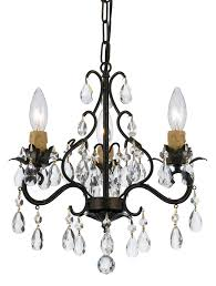 3 light english bronze youth mini chandelier dd in clear hand cut crystal