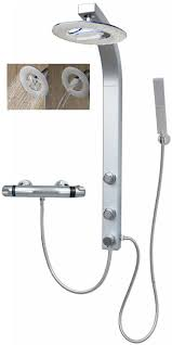 Thermostat Duschsystem Regendusche Eckmontage Duschset Silber 081cs Rw T