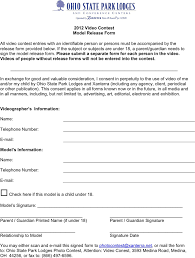 Free Ohio Model Release Form Pdf 56kb 1 Page S
