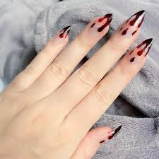 H4 - Doobys Nails - Blood Dripping Stiletto Clear - 24 False Nails ...