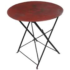 english early 20th century round metal folding table for