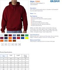 Gildan Hooded Sweatshirt Color Chart Rldm