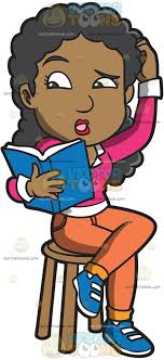 a confused black woman reading a book cartoon clipart vector toons