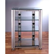 4 shelf glass audio cabinet rack