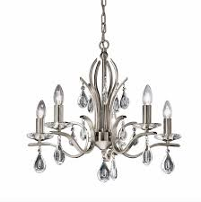satin nickel 5 arm chandelier with crystal drops