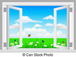 window sill clipart. Exellent Sill Open White Window With Scenery  Vector Illustration Of Open On Sill Clipart A