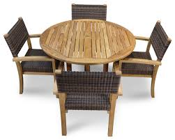 teak and wicker stacking chairs
