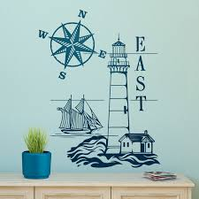 wall stickers lighthouse and compass rose