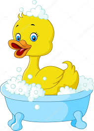 cartoon little yellow rubber duck floating in a bathtub stock vector