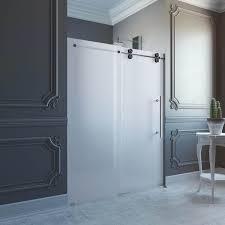 bathroom shower doors frosted. Beautiful Shower Shop VIGO 60inch Frameless Frosted Glass Sliding Shower Door  Free  Shipping Today Overstockcom 4732875 Intended Bathroom Doors S