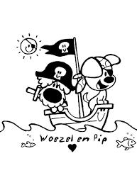 Kleurplaat Woezel En Pip Spelen Als Een Piraat Op Een Schip