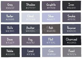 Color Chart With Names Gray Shades Image Result For Of Colours And Their Names In