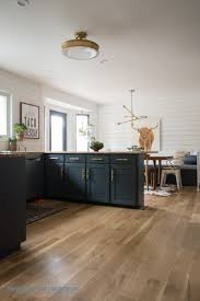 Blue Cow Kitchen And Bar Kitchen Reveal With Dark Cabinets And Open Shelving Shiplap Wood