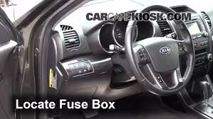 interior fuse box location 2011 2013 kia sorento 2012 kia locate interior fuse box and remove cover