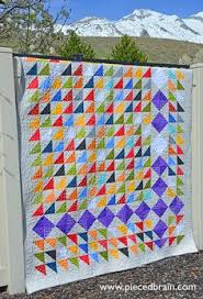 Made by me. Milky Way pattern by Karen Montgomery and Color ... & This is my Happy Quilt! Easy way to make HSTs out of Layer Cakes. Great  scrappy quilt and fun to feature your favorite color. Adamdwight.com