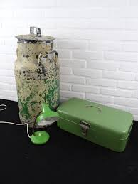 brocante alu milk churn bread box and lamp green 1960s