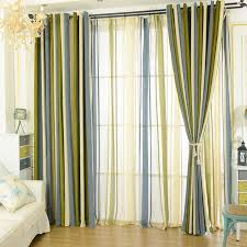 modern chenille blackout blue olive green striped curtains