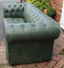 green 3 seat chesterfield sofa 1960s