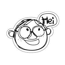 Hei 手描き風イラスト おしゃれでかわいい ちょっと変な面白ステッカー プレゼントにも 眼鏡の男の子