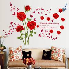roses wall stickers living room bedroom sofa background home decoration red